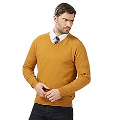 Hammond & Co. by Patrick Grant - Big and tall mustard wool-rich v-neck jumper