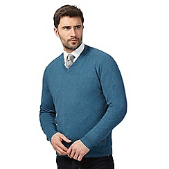 Hammond & Co. by Patrick Grant - Big and tall turquoise v neck jumper with wool