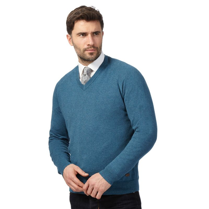 Hammond and Co. by Patrick Grant Turquoise V Neck Jumper