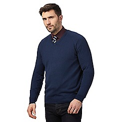 Hammond & Co. by Patrick Grant - Big and tall blue v neck jumper with wool