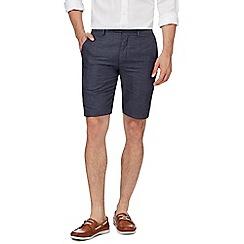 Hammond & Co. by Patrick Grant - Big and tall blue textured herringbone tailored fit shorts with linen