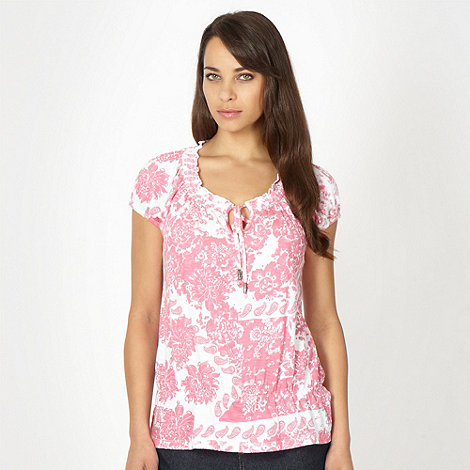 The Collection - Pink bali patchwork printed peplum top