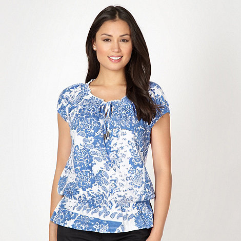 The Collection - Blue bali patchwork printed peplum top