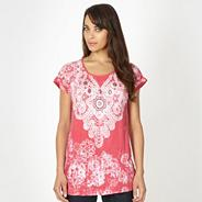 Rose lace printed peplum top