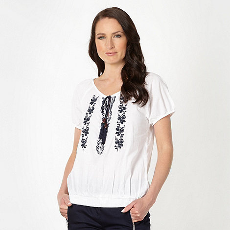 The Collection - White cross stitched gypsy top