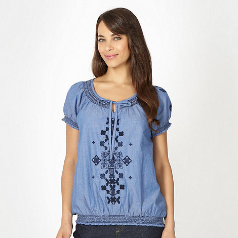 The Collection - Blue cross stitched chambray gypsy top
