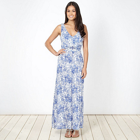 The Collection - Blue lotus flower jersey maxi dress