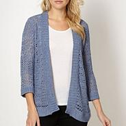 Blue pointelle knit cardigan