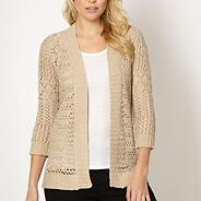 Beige pointelle knit cardigan