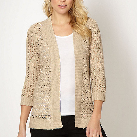 The Collection - Beige pointelle knit cardigan