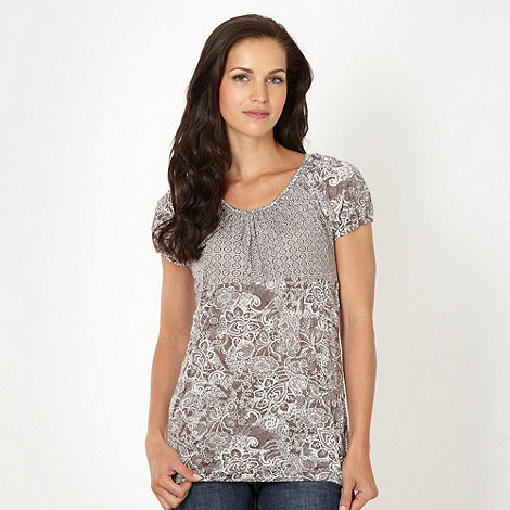 The Collection - Taupe crinkled mixed print top
