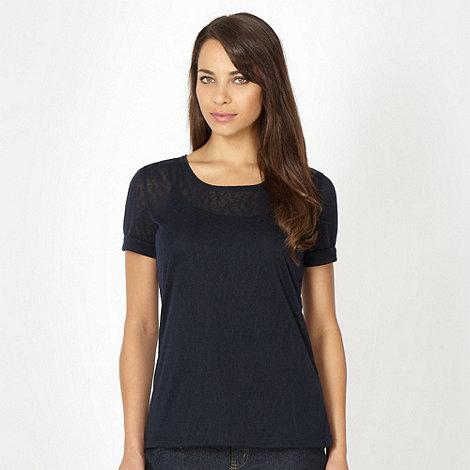 The Collection - Navy burnout textured t-shirt
