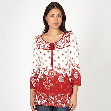 The Collection - Red floral border jersey top