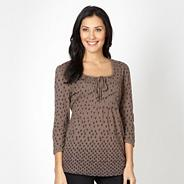 Light brown spotted pintuck top