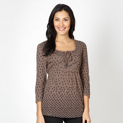 The Collection - Light brown spotted pintuck top