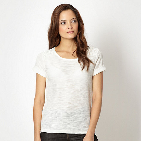 The Collection - Ivory cut and sew lace shoulder t-shirt