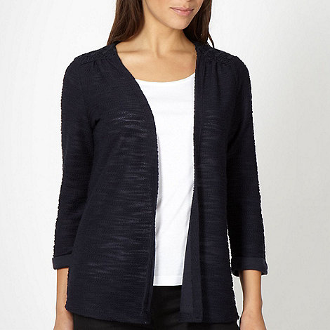 The Collection - Navy lace shoulder cardigan