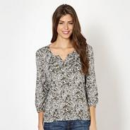 Khaki floral stitched V neck top