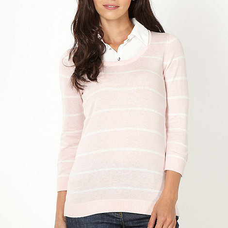 The Collection - Light pink striped shirt collar jumper