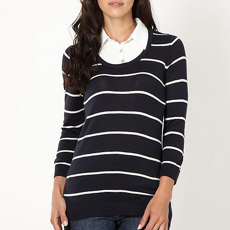 The Collection - Navy striped shirt collar jumper
