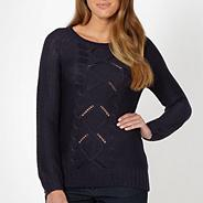 Navy diamond cable knitted jumper