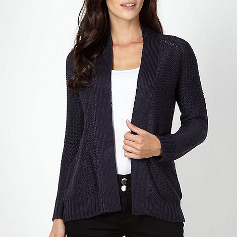 The Collection - Navy diamond pointelle cardigan