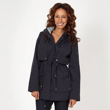 The Collection - Navy quilted panel parka jacket
