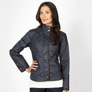 Navy waxed quilted panel jacket
