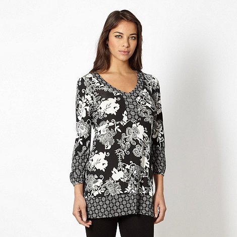 The Collection - Black mixed floral tunic
