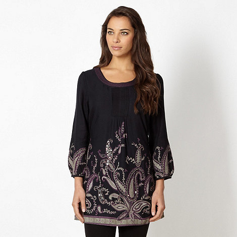The Collection - Black paisley border tunic