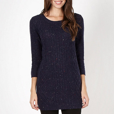 The Collection - Navy flecked cable knit dress