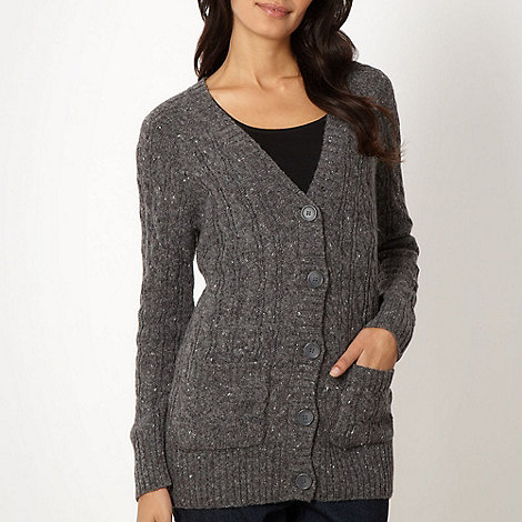 The Collection - Grey flecked cable knit cardigan