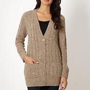 Natural flecked cable knit cardigan