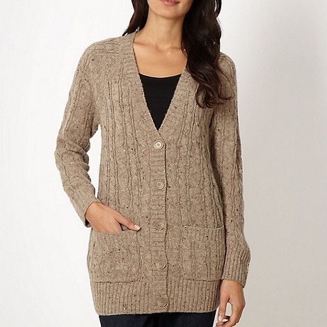 The Collection - Natural flecked cable knit cardigan