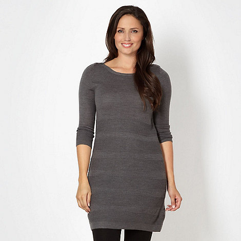 The Collection - Dark grey striped knit tunic