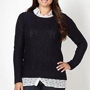 Navy cable knit mock shirt collar jumper