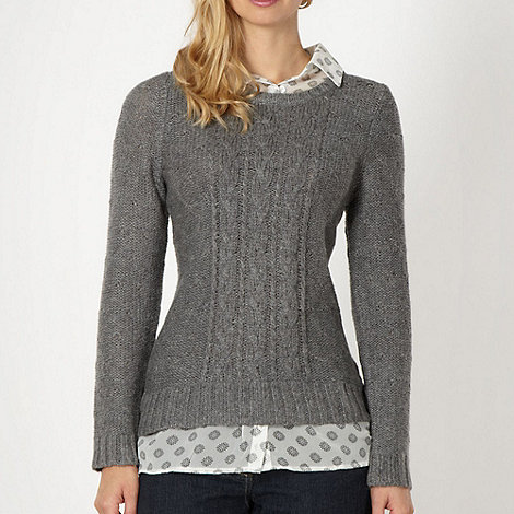 The Collection - Grey mock shirt collar jumper