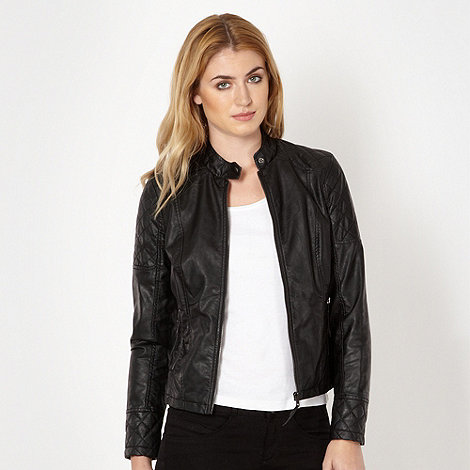 The Collection - Black quilted biker jacket