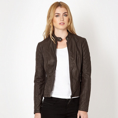 The Collection - Chocolate quilted biker jacket