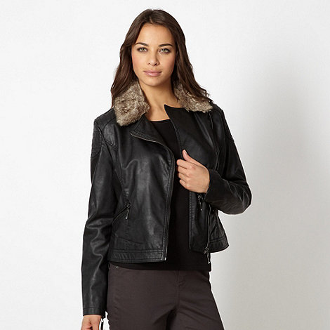 The Collection - Black PU  faux fur collar biker jacket