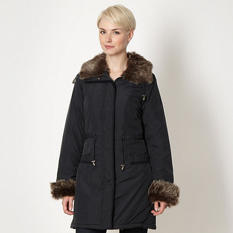 The Collection - Navy faux fur trimmed parka coat