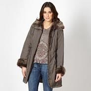 Light brown faux fur trim parka jacket