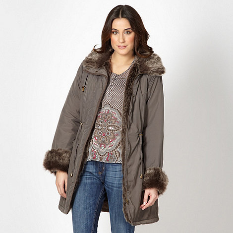 The Collection - Light brown faux fur trim parka jacket