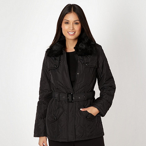 The Collection - Black quilted faux fur collar jacket