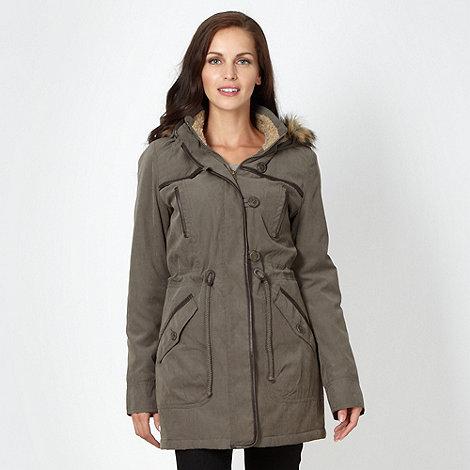 The Collection - Khaki borg hood parka jacket