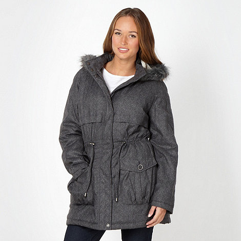 The Collection - Grey chevron hooded parka jacket