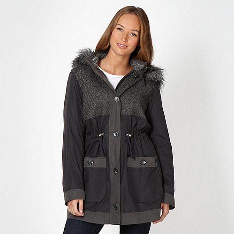 The Collection - Dark grey tweed panel parka coat