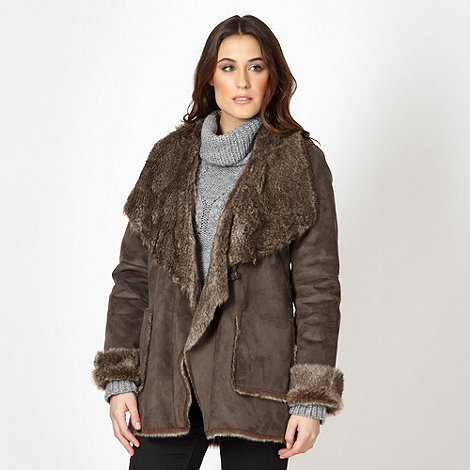 The Collection - Taupe faux fur lined coat