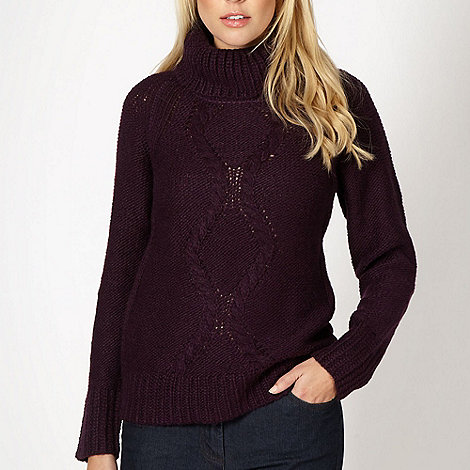 The Collection - Dark purple cable knit jumper