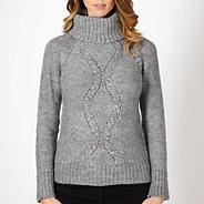 Grey cable knit roll neck jumper